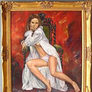 Semi Nude Woman - Original Oil Painting by Bob Browne