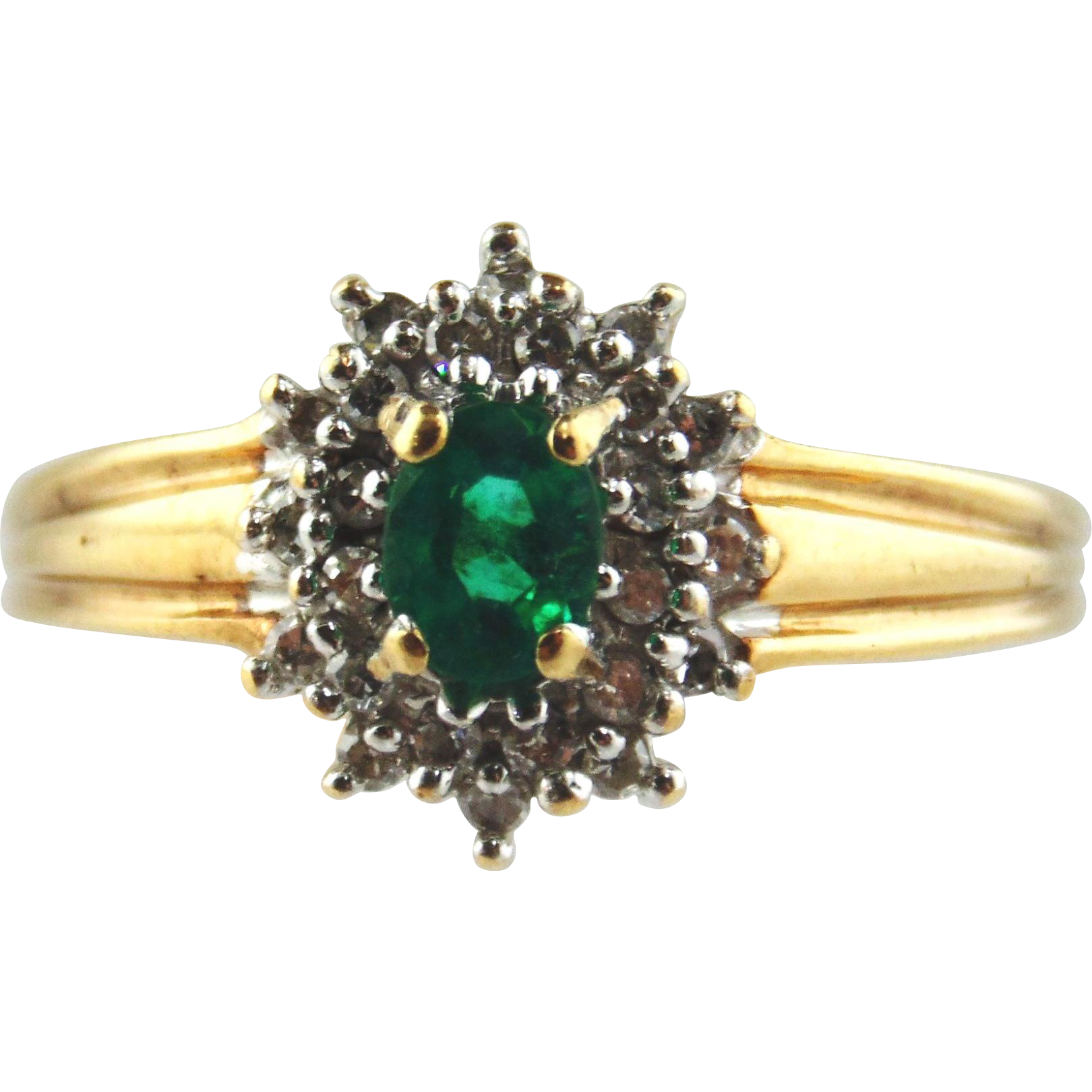 Emerald & Diamond Ring 10k Two Tone Gold , Size 7 3/4