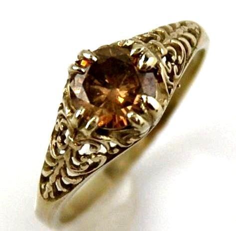 Diamond Filigree Ring 14kt White Gold , Champagne Colored