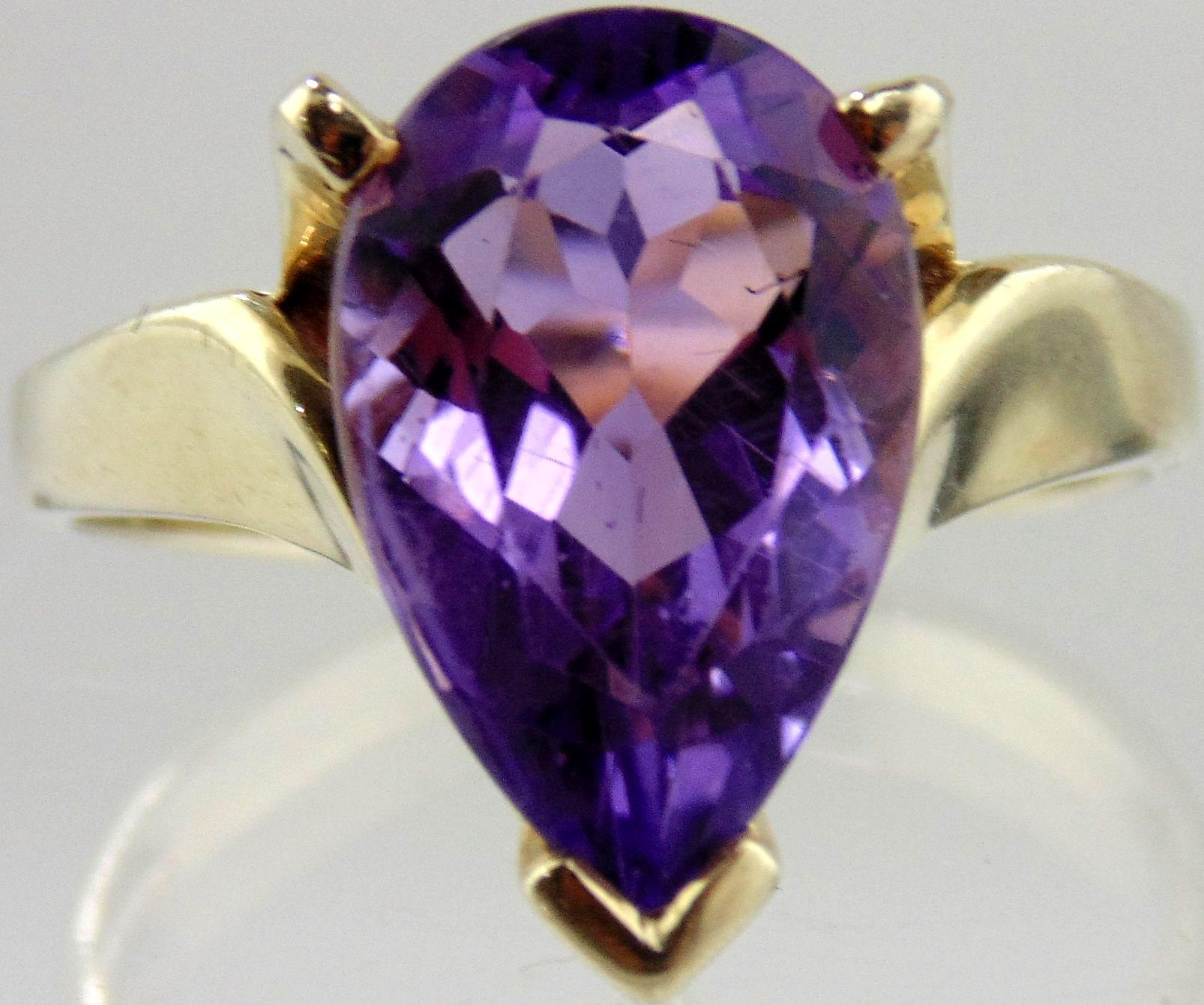 Amethyst Ring 14kt White Gold - Pear Shaped Amethyst 4.03cts