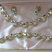 1950's Aurora Borealis Rhinestone Full Parure in Original Fitted Box