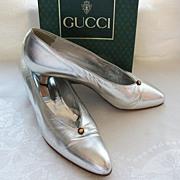 Vintage GUCCI Silver Mid-Heel Pumps Size 38AA in Original Box