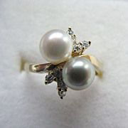 14K YG Cultured White & Platinum Pearl & Diamond Ring, Size 7