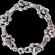 Fancy Sterling Rosette Link Bracelet