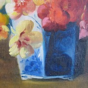 Floral Oil Painting Signed by F. Fenetty 1854-1915 – Pansy Bouquet in a Blue Chinese Porcela