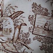 1800s England Child's Ironstone Brown Transferware China Dish