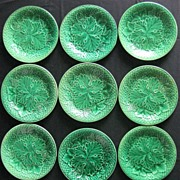 SOLD Majolica Pottery - Nine Classic Green dishes
