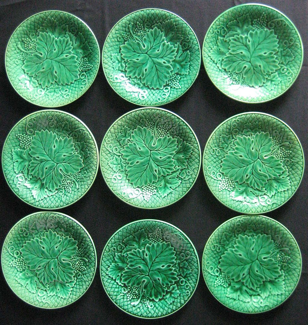 Majolica Pottery - Nine Classic Green dishes