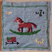 Knitted Rocking Horse Pillow Cover