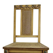 SOLD French Directoire Style Caned Desk Chair With Carved Frame 1920's