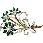 SOLD 1940s Flower Bouquet Brooch | Book Piece | Vintage Enamel Pave Rhinestone Floral Pin