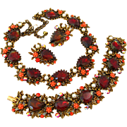 SOLD Signed ART Necklace Bracelet Earrings Parure | Vintage 1960s Red Bi-color Rhinestone Flow
