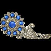 SOLD 1930s Blue Moonglow Flower Brooch Huge Vintage Art Deco Pave Rhinestone Floral Pin