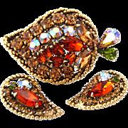 WEISS Autumn Rhinestone Leaf Brooch Earrings Set | Vintage 1950s Green Brown Aurora Borealis D