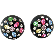 SOLD 1950s Thermoplastic Rhinestone Button Earrings | Vintage Pastel Black Plastic Clip On