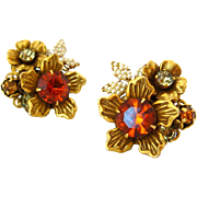 VENDOME Rhinestone Flower Earrings | Vintage 1960s Signed Autumn Brown Floral Clip On | Coro J