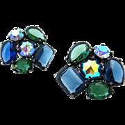 SOLD SCHIAPARELLI Blue Green Rhinestone Earrings | Huge Vintage Signed 1960s Clip On