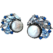 SOLD WEISS Blue Rhinestone Faux Pearl Earrings | Vintage 1950s Signed Mid Century Clip On
