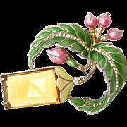 SOLD 1940s Unsigned Masterpiece Metallic Enamel Flower Brooch | Vintage Huge Rhinestone Floral