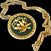 SOLD Asian Floral Rhinestone Art Glass Necklace | Vintage Faux Opal Jade Oriental Pendant