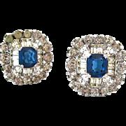 SOLD JOMAZ Sapphire Blue Rhinestone Earrings | Vintage Signed Clear Clip On Mazer Jewelry