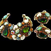 SOLD FLORENZA Watermelon Rhinestone Brooch Earrings Set | Vintage Signed Art Glass Demi Parure