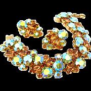 SOLD JULIANA Topaz Rhinestone 5 Link Bracelet Earrings Set | Vintage D&E Aurora Borealis Demi