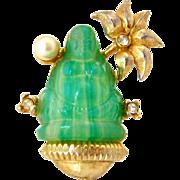 SOLD Buddha Molded Glass Brooch | Vintage 1960s  Lotus Flower Rhinestone Figural Pin