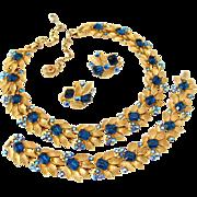 SALE PENDING LISNER Blue Rhinestone Necklace Bracelet Earrings Set | Vintage 1960s Aurora Bore