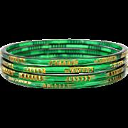 Vintage 1930s Art Deco Emerald Green Glass Bangle Bracelets