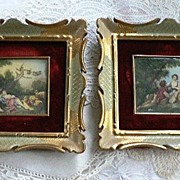 SOLD Two Vintage Miniatures Painted Paintings