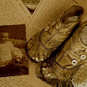 SOLD Vintage Baby Photo with Baby Button-up Boots Booties - Red Tag Sale Item