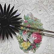 SALE French Jet Flower Hair Comb or Pick Mourning