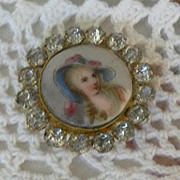 REDUCED 20% Lovely Antique Victorian Porcelain Portrait Miniature of Lady Framed with Paste ..