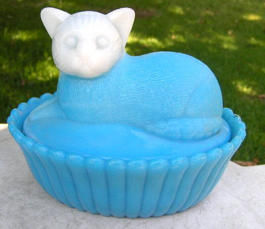 Blue Milk Glass Cat Covered Dish Westmoreland Specialty