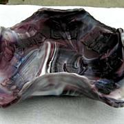 Purple Slag Ruffled Butterfly Bonbon Candy Dish Fenton