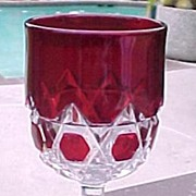 SOLD Red Block Ruby Stain Wine Water Goblet Glass EAPG