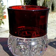 SOLD Ruby Stain Tumbler Kings Crown Pattern EAPG
