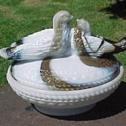 Brown and White Slag Lovebirds Covered Dish Westmoreland Glass