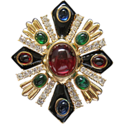 REDUCED CINER 'Jewels of India' Simulated Ruby, Sapphire, Emerald, Diamond Enameled Maltese ..