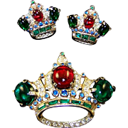 CORO CRAFT COROCRAFT Ruby Red, Emerald Green, Sapphire Blue & Diamante Sterling Imperial 'Crow