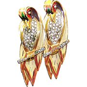CORO CRAFT COROCRAFT Sterling Adolph Katz Enamel and Pave 'Love Birds on a Branch' Pin ...