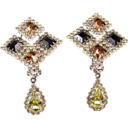 REDUCED HATTIE CARNEGIE Topaz & Jet Checkerboard Citrine Drop Clip Pendant Earrings