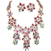 REDUCED Roger JEAN PIERRE, Marked MADE IN FRANCE, Pink, Blue & Clear Crystal Floral Pendant ..