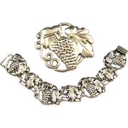 REDUCED McCLELLAND BARCLAY Sterling Sculpted Bunch of Grapes Linked Bracelet & Pin