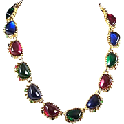 REDUCED NINA RICCI Sapphire, Ruby, Emerald Poured Glass 'Jewels of India' Linked Necklace