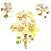 ROBERT Pastel Enamel & Rhinestone Floral Pin and Clip Earrings