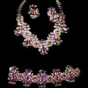 SCHIAPARELLI Tourmaline/Watermelon Aurora Borealis Crystal Necklace