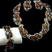 REDUCED SCHIAPARELLI Topaz, Smoke Gray, and Aurora Borealis Crystals Necklace, Bracelet and ..