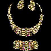 SCHIAPARELLI Tourmaline/Watermelon Aurora Borealis Crystal Necklace, Bracelet & Clip Earrings